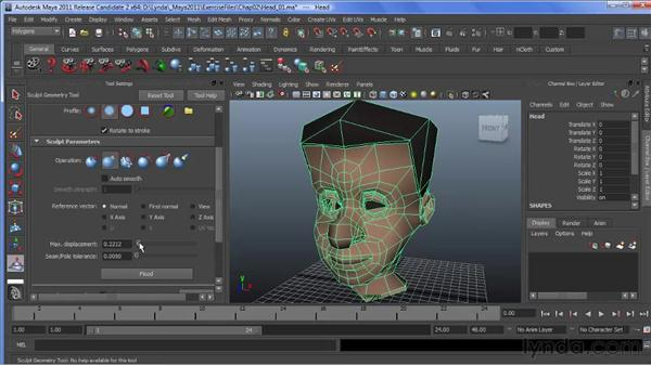 Exploring the Pinch Brush tool: Maya 2011 New Features