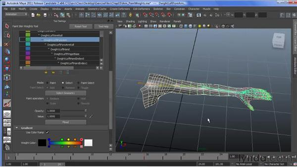 Using the Paint Skin Weights enhancements: Maya 2011 New Features