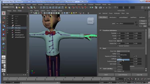 Understanding new joint drawing styles: Maya 2011 New Features