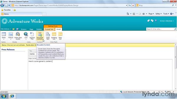 Editing pages on publishing sites: SharePoint 2010 New Features