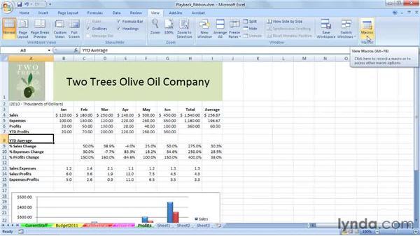 Running macros from the View tab: Excel 2007: Macros in Depth