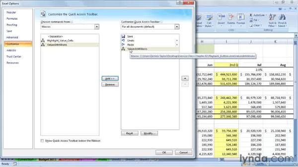 Running macros from the Quick Access toolbar button: Excel 2007: Macros in Depth