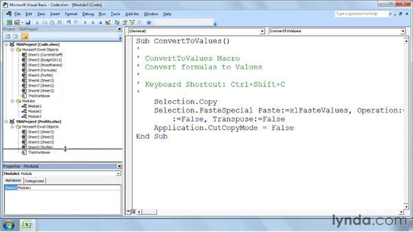 Viewing the VBA components: Excel 2007: Macros in Depth