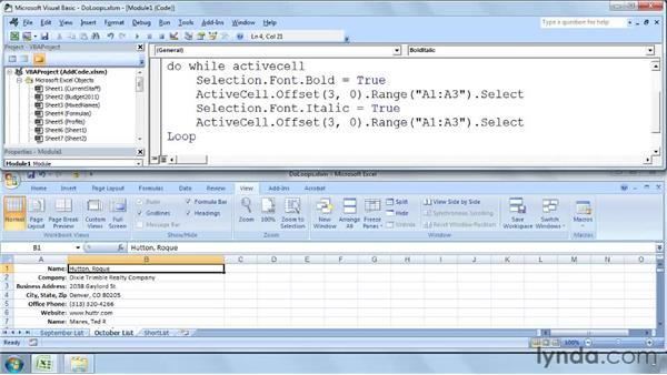 Do While and Do Until statements: Excel 2007: Macros in Depth