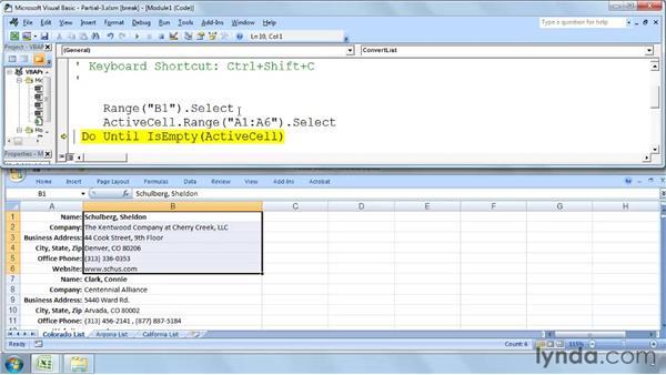 Testing a macro in Step mode: Excel 2007: Macros in Depth