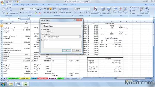 Creating a personal macro workbook for macros with wide applicability: Excel 2007: Macros in Depth