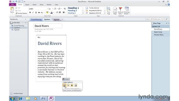 Selecting paste options with ctrl + v: OneNote 2010 New Features