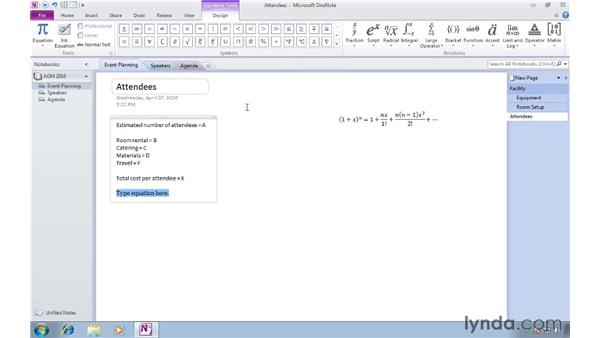 Adding math equations to notes: OneNote 2010 New Features