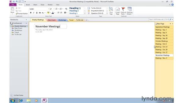 Exploring section and page tab improvements: OneNote 2010 New Features