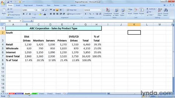 Changing tab colors and sheet names: Excel 2007: Managing Multiple Worksheets and Workbooks
