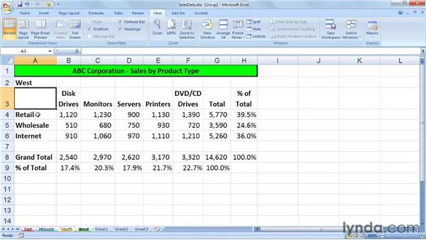 Applying global changes to worksheets: Excel 2007: Managing Multiple Worksheets and Workbooks