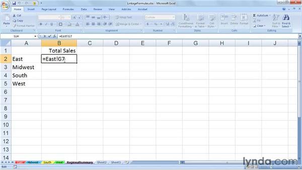 Creating linkage formulas: Excel 2007: Managing Multiple Worksheets and Workbooks