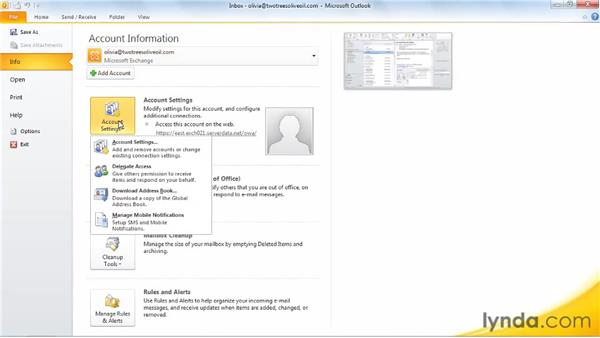 Exploring the File tab: Outlook 2010 New Features