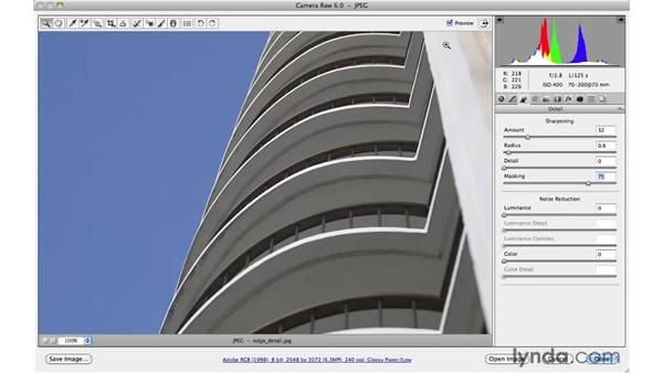 Edge sharpening in an architectural photograph : Photoshop CS5 for Photographers: Camera Raw 6