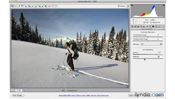 Correcting lens vignette: Photoshop CS5 for Photographers: Camera Raw 6