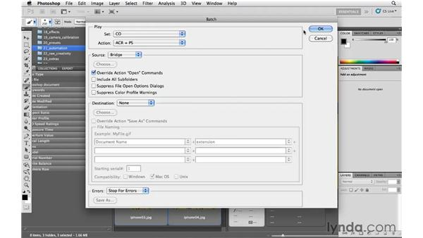 Batch processing multiple images: Photoshop CS5 for Photographers: Camera Raw 6