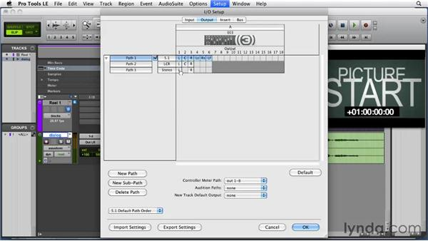 Setting output paths: Film Scoring with Pro Tools