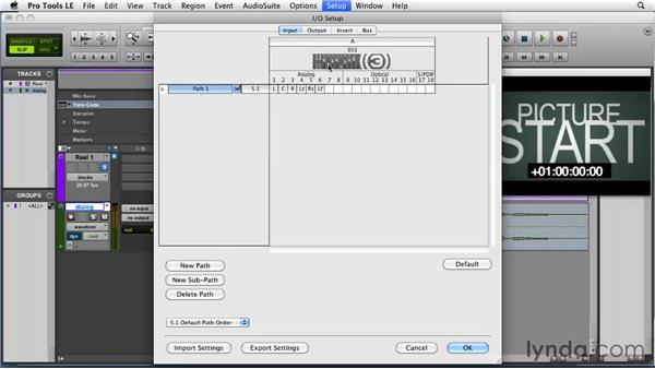 Setting input paths: Film Scoring with Pro Tools