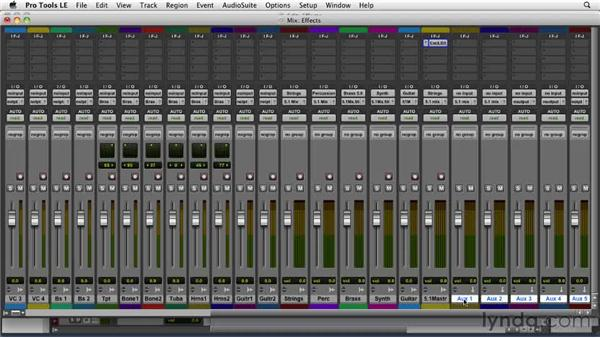 Setting up multichannel aux effects: Film Scoring with Pro Tools