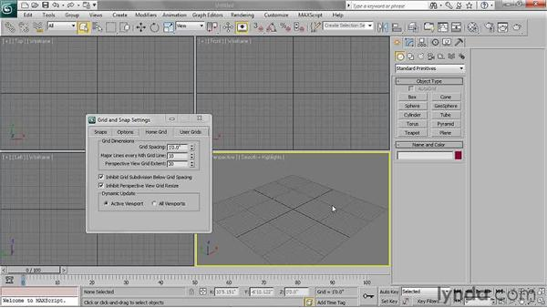 Setting home grid dimensions: 3ds Max 2011 Essential Training