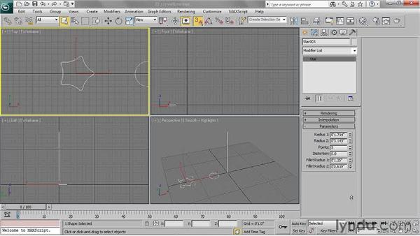 Converting a shape to an editable spline: 3ds Max 2011 Essential Training