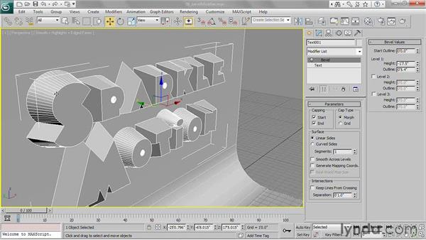 Applying a bevel modifier: 3ds Max 2011 Essential Training