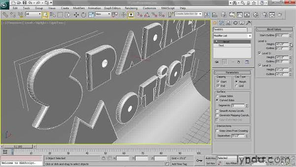 Choosing bevel parameters: 3ds Max 2011 Essential Training