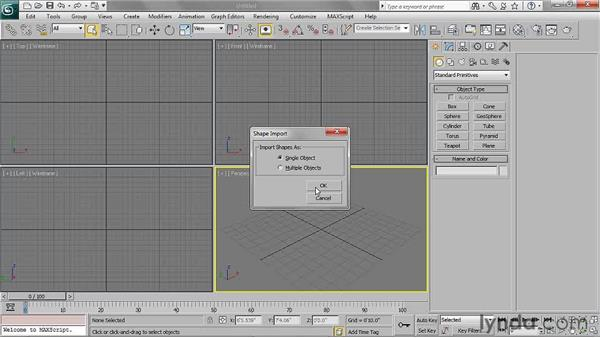 Importing Illustrator paths to 3ds Max: 3ds Max 2011 Essential Training