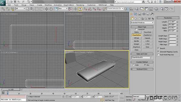 Creating chamfer boxes: 3ds Max 2011 Essential Training