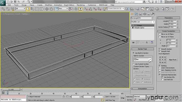 Using the Sweep Modifier: 3ds Max 2011 Essential Training