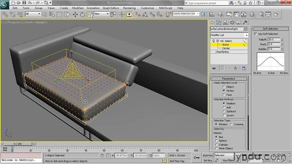 Soft-selecting sub-objects with Volume Select: 3ds Max 2011 Essential Training
