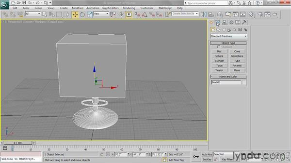 Creating a box and converting to editable poly format: 3ds Max 2011 Essential Training