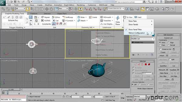 Using the Graphite Ribbon interface: 3ds Max 2011 Essential Training