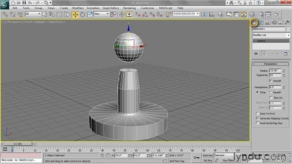 Attaching polygon meshes to a single object: 3ds Max 2011 Essential Training
