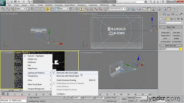 Enabling viewport hardware shading: 3ds Max 2011 Essential Training
