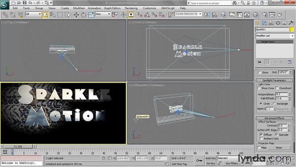 Setting spotlight hotspot and falloff radius: 3ds Max 2011 Essential Training