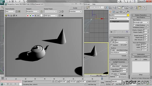 Using area shadows: 3ds Max 2011 Essential Training