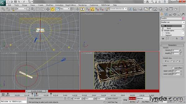 Animating modifier parameters: 3ds Max 2011 Essential Training
