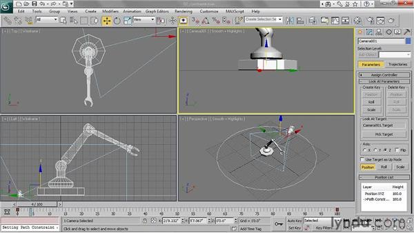 Applying path constraints: 3ds Max 2011 Essential Training