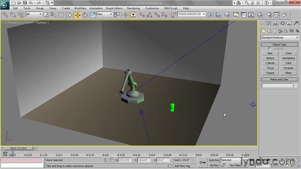Assigning a link constraint: 3ds Max 2011 Essential Training