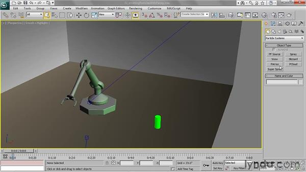 Emitting particles from an object with PArray: 3ds Max 2011 Essential Training