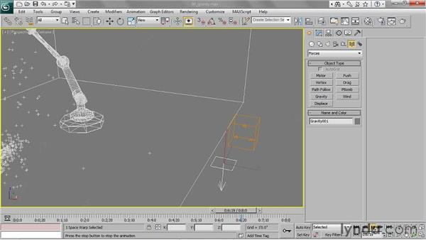 Binding particles to a gravitational force: 3ds Max 2011 Essential Training