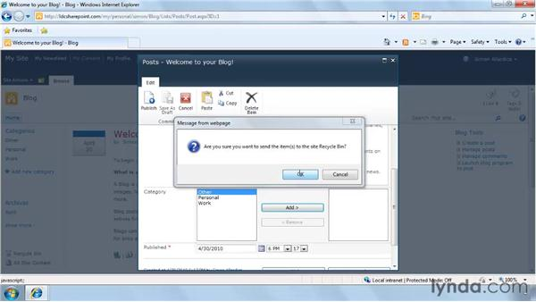 Using the Blog tool: SharePoint 2010 Getting Started