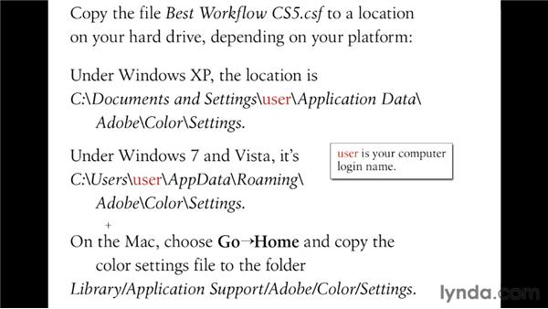 Installing the Best Workflow color settings: Illustrator CS5 One-on-One: Fundamentals