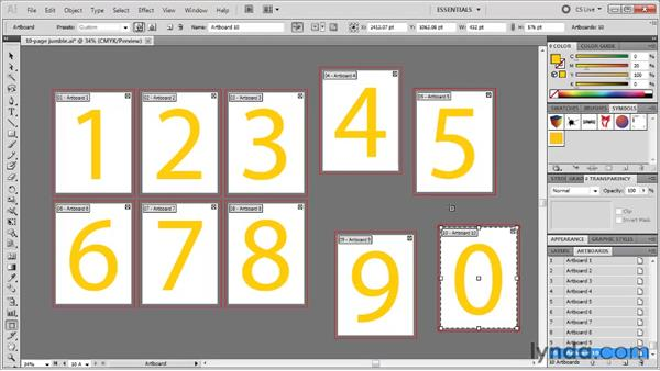 Auto-arranging artboards: Illustrator CS5 One-on-One: Fundamentals