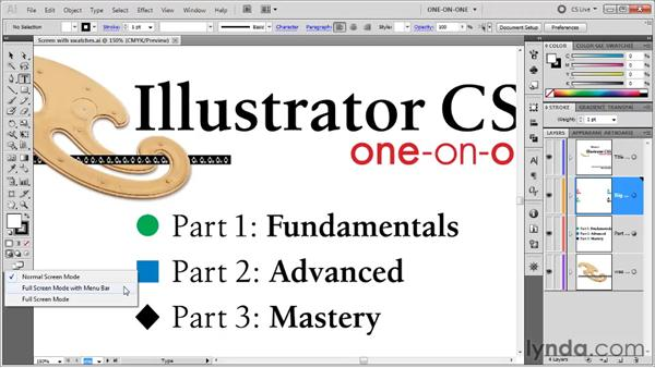 Cycling between screen modes: Illustrator CS5 One-on-One: Fundamentals
