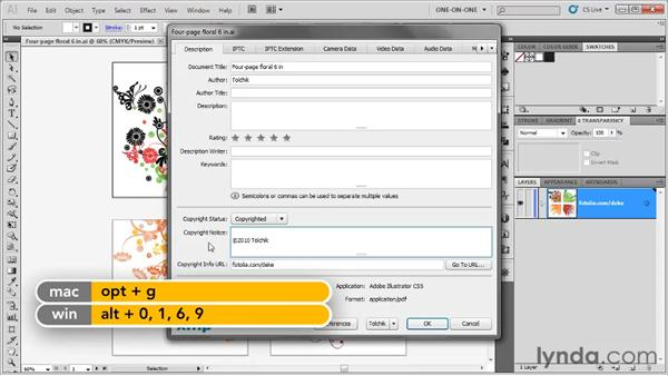 Adding copyright and metadata information: Illustrator CS5 One-on-One: Fundamentals