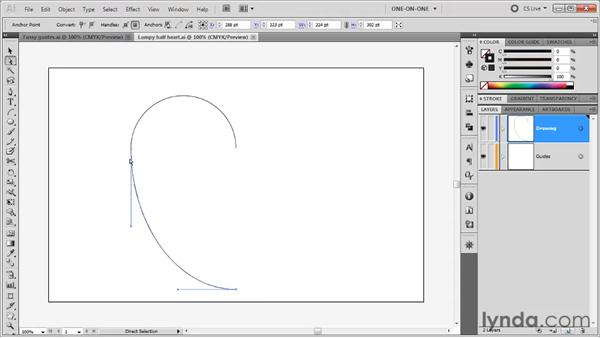 Adjusting control handles: Illustrator CS5 One-on-One: Fundamentals