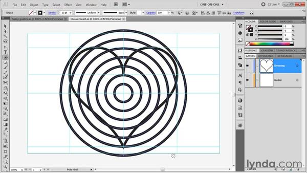 Drawing a target with the Polar Grid tool: Illustrator CS5 One-on-One: Fundamentals