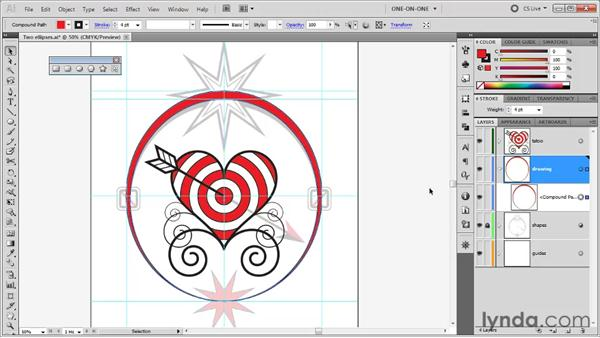 Creating a compound path: Illustrator CS5 One-on-One: Fundamentals